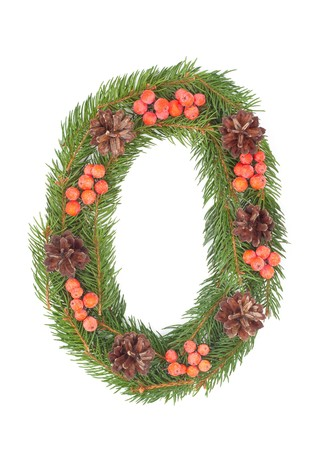 hollyberry: NUMBER 0 - Christmas tree decoration - part of a full set