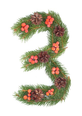 hollyberry: NUMBER 3 - Christmas tree decoration - part of a full set