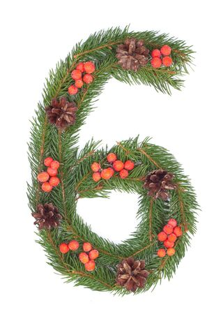 NUMBER 6 - Christmas tree decoration - part of a full set Stock Photo - 8112332