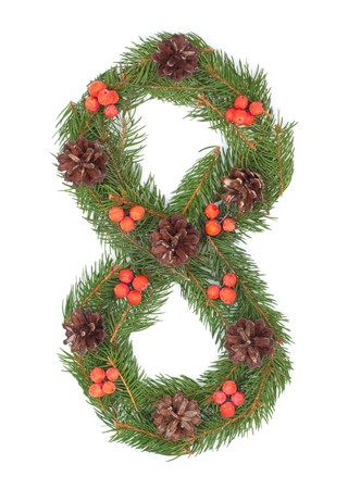 NUMBER 8 - Christmas tree decoration - part of a full set Stock Photo - 8112323
