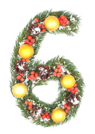 NUMBER 6 - Christmas tree decoration - part of a full set Stock Photo - 8162443