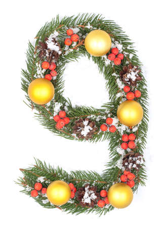 NUMBER 9 - Christmas tree decoration - part of a full set photo
