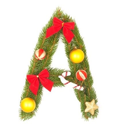 Christmas Alphabet. Part of full set isolated on a white background photo