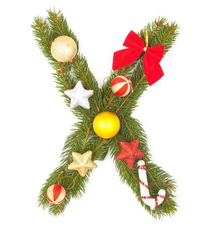 Christmas Alphabet. Part of full set isolated on a white background photo
