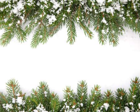 background isolated: Christmas framework with snow isolated on white background Stock Photo
