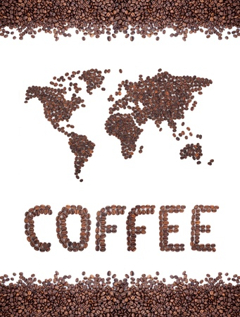 granos de cafe: Mapa de caf� de frijoles sobre fondo blanco