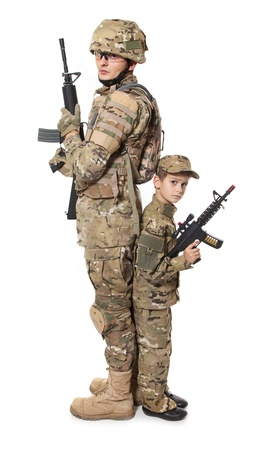 Military Father and Son isolated on white background photo
