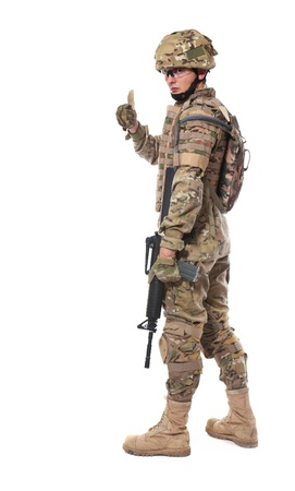 Modern soldier with rifle isolated on a white background Stock Photo - 8543607