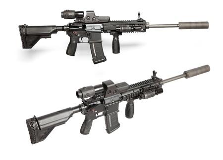 pistole: US Army M4 fucile isolata on white Archivio Fotografico