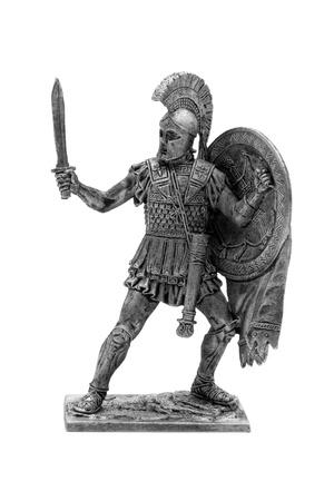 cascos romanos: Soldado de juguete romano aislado en un fondo blanco