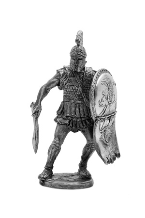 Roman toy soldier isolated on a white background photo