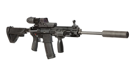 guerilla warfare: US Army M4 rifle isolated on white Stock Photo