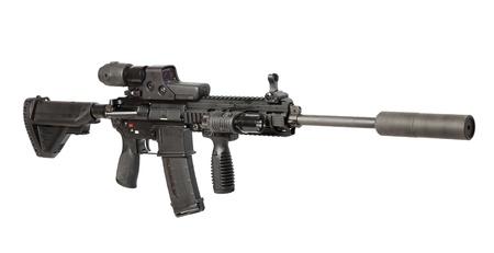 guerilla: US Army M4 rifle isolated on white Stock Photo