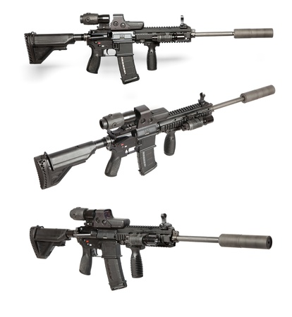 gun sight: US Army M4 rifle isolated on white Stock Photo