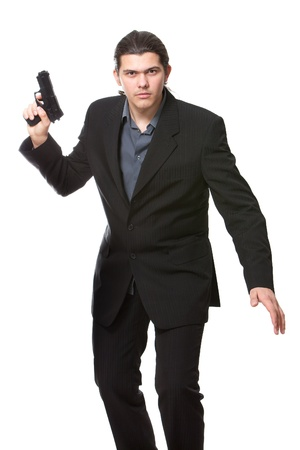 secret service: Businessman bodyguard isolated on a white background