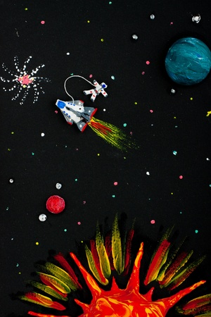 Solar system, spaceship, astronaut, planets, sun, comets photo