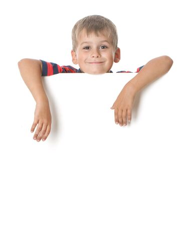children party: Boy holding a banner isolated on white background