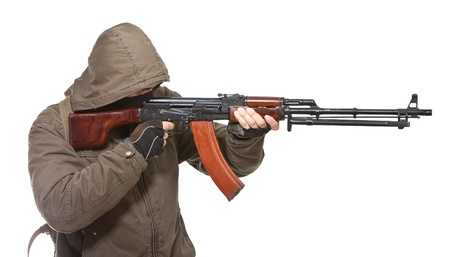 Terrorist with weapon on a white background Stock Photo - 8854864