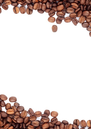 hot frame: Brown roasted coffee beans isolated on white background