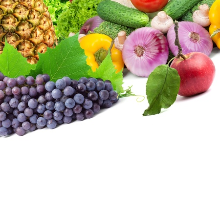 Colorful healthy fresh fruits and vegetables. Shot in a studio Stock Photo - 9116636