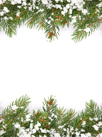 Christmas framework with snow isolated on white background photo