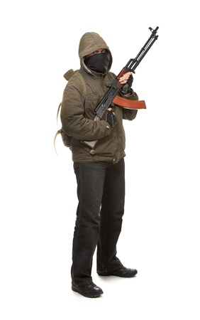 Terrorist with weapon on a white background Stock Photo - 9116936