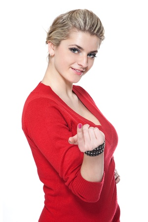 Beautifule woman in red dress inviting on white Stock Photo - 9116967
