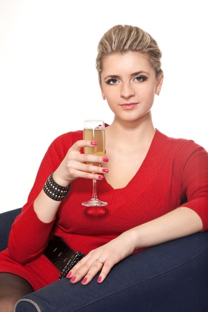 Woman in Red with champagne glass on white photo