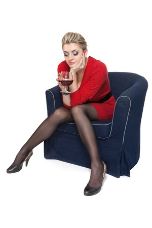 drunk woman: Woman in Red with wine glass on white Stock Photo