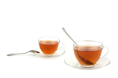 A cup of tea isolated on white background photo