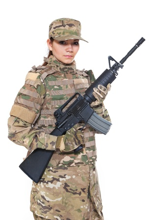 one armed: Beautiful army girl with rifle isolated on white