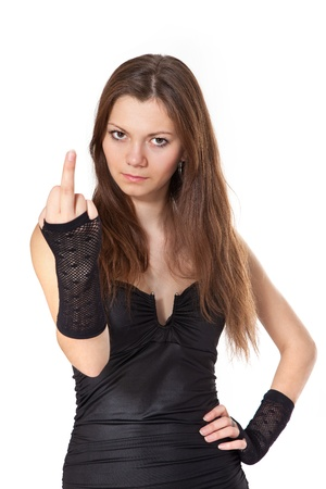 rude: Beauty woman showing middle finger, isolated on white background Stock Photo