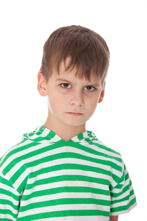 sulking: Cute boy anger isolated on a white background Stock Photo