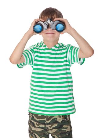 Boy holding binoculars isolated on a white Stock Photo - 9463662