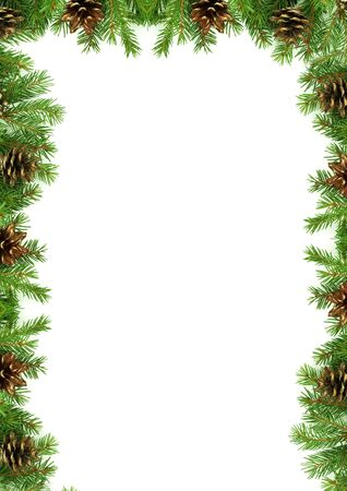 evergreen forest: Christmas framework with snow isolated on white background Stock Photo