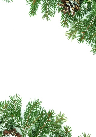 Christmas framework with snow isolated on white background Stock Photo - 9857954