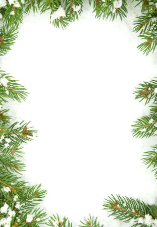 Christmas framework with snow isolated on white background Stock Photo - 9857958