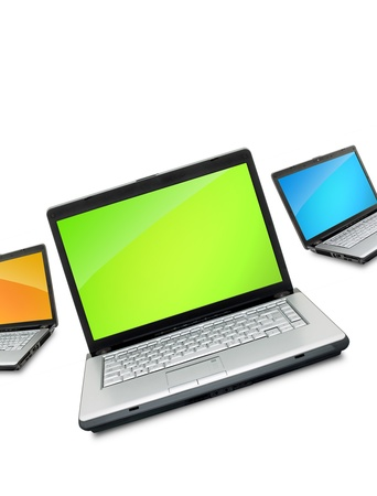 Open laptops showing keyboard and screen  isolated on white background Stock Photo - 9857589