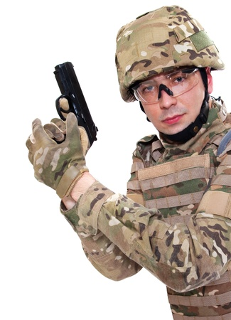 Modern soldier with rifle isolated on a white background Stock Photo - 9857587