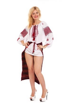 Attractive woman wears Ukrainian national dress photo
