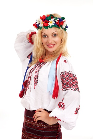Attractive woman wears Ukrainian national dress Stock Photo - 10073679