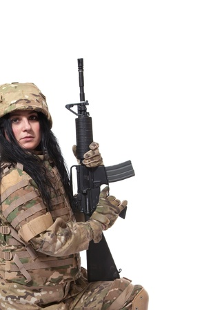 Beautiful army girl with rifle isolated on white Stock Photo - 10073663
