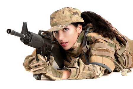 sexy army girl: Beautiful army girl with rifle isolated on white