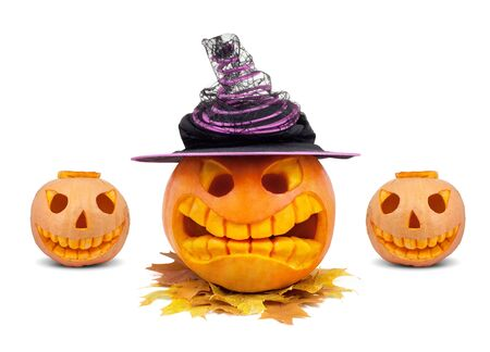 Halloween pumpkin with hat and leaf isolated on white photo