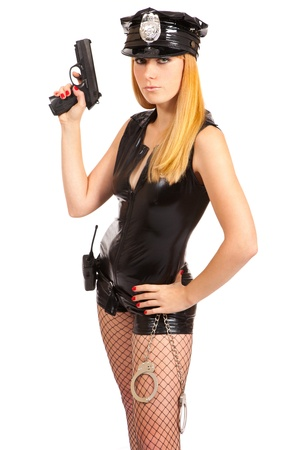 Beautiful sexy police girl with handgun and handcuffs, isolated on white background  Stock Photo