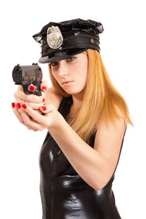 Beautiful sexy police girl with handgun and handcuffs, isolated on white background  Stock Photo - 10655275