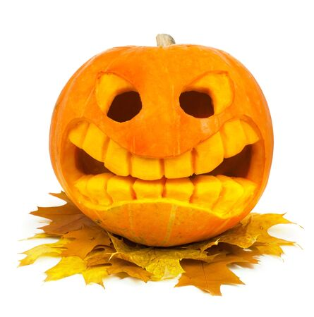 Halloween pumpkin and leaf isolated on a white background photo