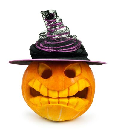 Halloween pumpkin with hat and leaf isolated on white Stock Photo - 10817368