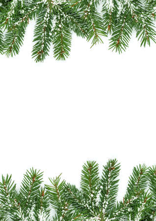 Christmas framework with snow isolated on white background Stock Photo - 10817372