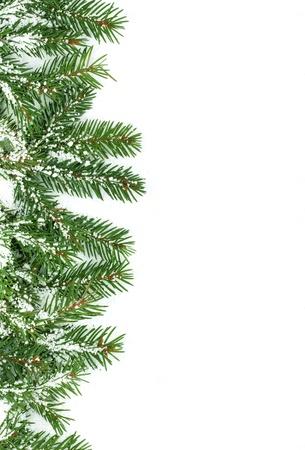 festive season: Christmas framework with snow isolated on white background  Stock Photo